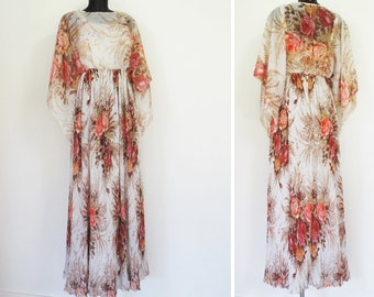 Vintage 1970s Designer Maxi Dress, UK10, US6, EUR38, 1960's Peterson Maid Boho Dress Alternative Wedding Dress Bridesmaid Hippy Hippie