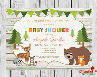 Rustic Woodland Baby Shower Invitation, Fox Baby Shower, Woodland Forest Animals,  Spring Baby Boy Girl Gender Neutral, Digital Invitation