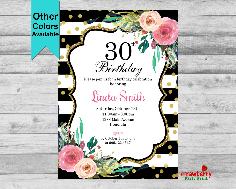 30th birthday invitation floral birthday invitation black white 30th birthday invitation floral birthday invitation black white gold glitter cheers filmwisefo