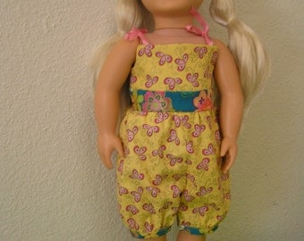 Gold and Pink Floral Summer Jumpsuit for American Girl and other 18 inch Dolls, one-piece, one-of-a-kind, shorts
