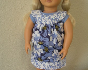 "Sparkly Blue Flower 3-piece Outfit for American Girl or 18 '"" Dolls for Back to School"
