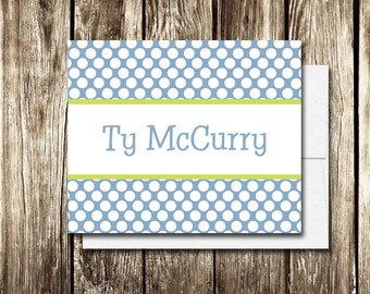 Custom Personalized Stationery | Set of 12 Note Cards | Polka Dot Stationery