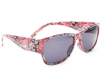Chic Red Floral Sunglasses Wayfarer Style Unique Glasses S005