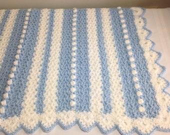 Crocheted Baby Blanket, Crochet, Baby Boy, Baby Shower Gift, Baby Gift, Striped Blanket, Blue, Shower Gift