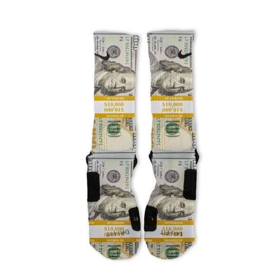 Custom Band 100 Dollar Bill Benjamins Nike Elites Socks