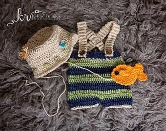 Crochet Fisherman Hat, Baby Fishing Hat, Newborn Photo Prop, Baby fisherman outfit