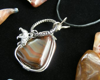Banded Agate, Leather Necklace, Banded Agate Pendant, Sterling Silver Pendant, Healing Crystals, Reiki Necklace, Handmade Necklace