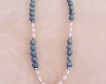 Turquoise and Pearl Necklace Embellished with Bali Sterling Silver