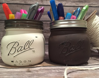 Fall 16oz Ball Chalk Painted Mason Jars! Perfect for organizing anything, office supplies, cosmetics, rustic decor, home decor