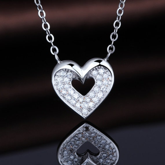 18th Birthday Cz T Bar Sterling Silver Heart Bracelet Can: Love Heart Stone Necklace Crystal Encrusted 925 By
