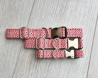 Pink Flowers Fabric Dog Collar