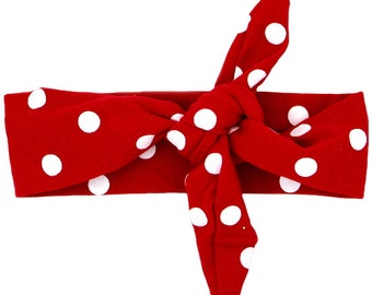 Red with White Polka Dots Top Knot Headband