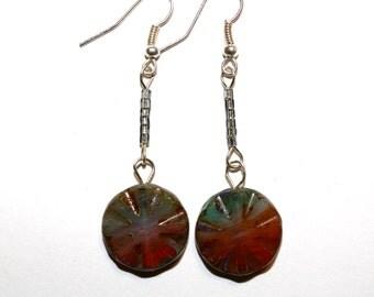 Blue Red Sea Stone Earrings
