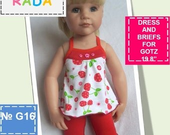 Summer dress and briefs pattern for 18 inch dolls (for Gotz or similar measurements doll