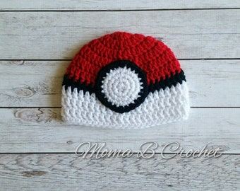 Crochet Pokeball Hat, Pokeball Hat, Pokemon Hat, Baby Pokemon Hat, Child Pokemon Hat, Adult Pokemon Hat