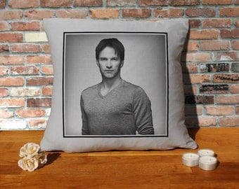 Stephen Moyer Cushion Pillow - Popart - Silver Grey - 100% cotton - 16x16 inches