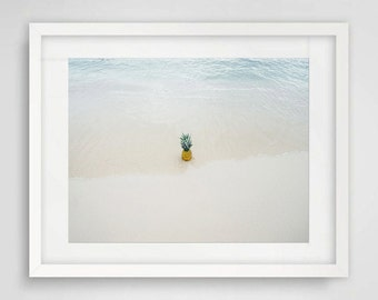 """Printable Art Photography """"Pineapple On The Beach"""" Wall Decor, Wall Art, Tropical, Bright, Fun, Quirky, Beachy, Water, Shore"""