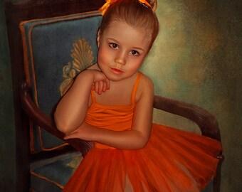Custom Portrait,  Custom Child Portrait, Personalized Portrait, Custom Painting, Digital Painting From Photo, Hand painted, Kid portrait