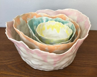 Colorful nested bowls