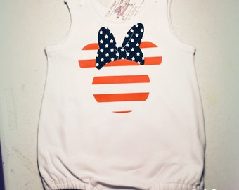 Minnie Mouse flag patriotic red white blue America American stars stripes disney world baby bubble heat press vinyl