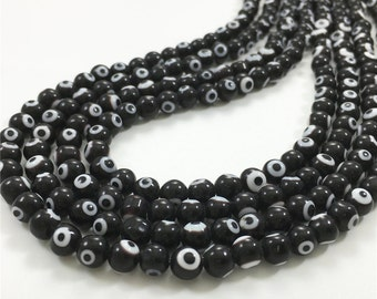 6mm Black Evil Eye Beads,Glass Beads,RoundBeads,Wholesale Beads