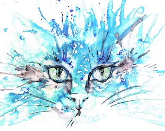 Caro's Cat, Ink and Watercolour painting