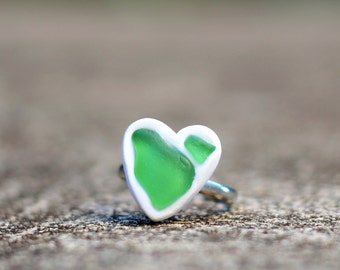 Sea Glass Heart Ring - Handmade Ring - Polymer Clay Ring - Genuine Sea Glass - Unique Ring - OOAK Ring - Made in Hawaii