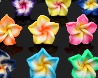 50pcs - Multicolor Polymer-Loose Beads - Fimo Clay Flower- DIY - Craft Spacer - Colorful Sammer -