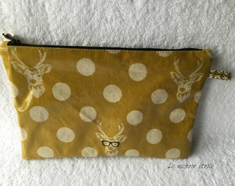 Zippered laminated linen and cotton pouch: Echino mustard Buck stag with glasses