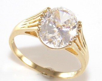 14K Yellow Gold Clear CZ Diamonique DQ Oval Dome Ring Size 6 QR