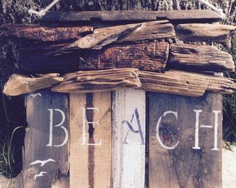 Driftwood Accent Beach Sign