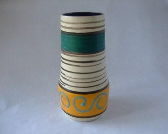 Scheurich 529-18: Vintage West German Ceramic Vase with Green and Yellow Glaze - UK Seller