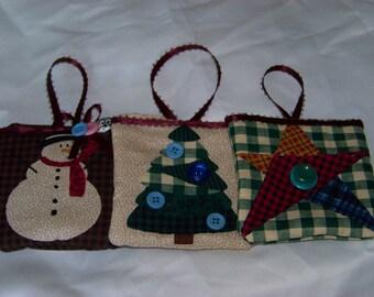 Set of 3 Fabric Christmas Ornaments #2
