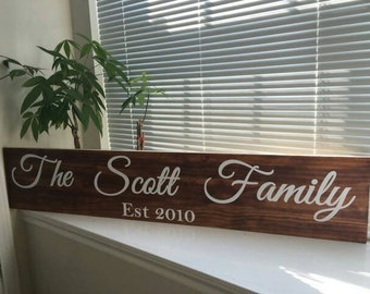 Personalized family name wall sign, customized for your family name, wood,established, family tree, family sign, last name,
