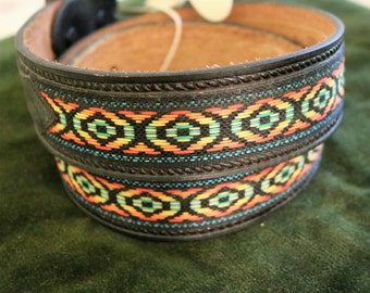 Vintage Decorative Leather Belt Size 40