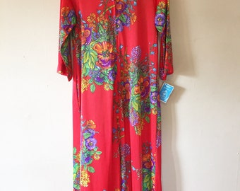 Deadstock 1970s Red Floral Loungewear Maxi Duster Robe Dress