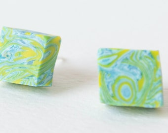 Polymer clay stud earrings Square polymer clay stud  made by polymer clay spring colors, pastel green