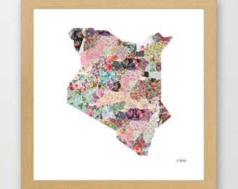 KENYA MAP, flowers composition, roses, Giclee Fine Art, Poster Print