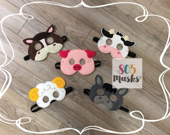 Farm Animal Masks, Kids Masks, Kids Costumes, Cow Mask, Horse Mask, Donkey Mask, Sheep Mask, Pig Mask, Halloween mask, Halloween Costume