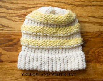 Loom Knit Hat, Slouch Hat, Yellow and White Hat