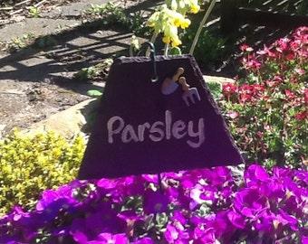 Herb garden marker 'Parsley' welsh slate.