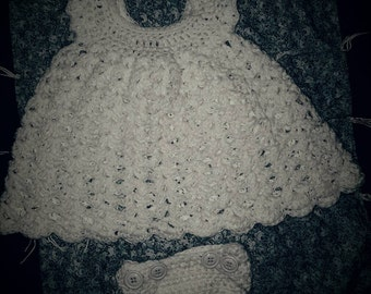 Newborn - 2 Months Crocheted Baby Dress and Adjustable Ruffle Diaper Cover