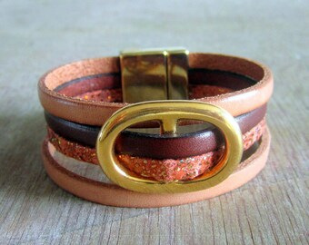 Leather Cuff Bracelet, passing oval gold clasp loving Golden 20MM