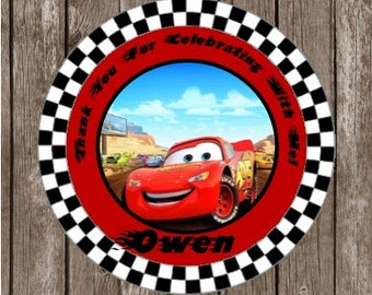 Disney Cars Stickers   Personalized Cars Thank You Stickers and Tags