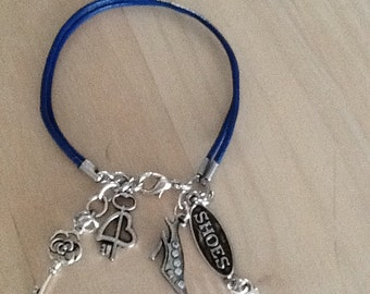Leather Bracelet with Shoe Charms..
