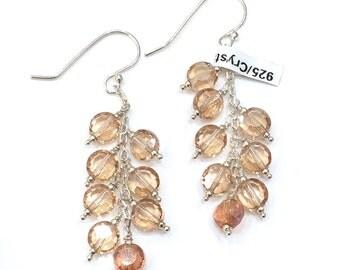 Crystal Champagne Chandelier Earrings