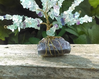 Genuine Green and Purple Fluorite Tree of Life Sculpture Wire Wrap Gold Colored Copper on Amethyst Cluster Boho Bohemian Decor