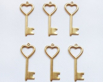 6 Raw Brass Heart Top Key Charms