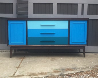 Mid Century Bassett Credenza with Ombre Blue Drawers