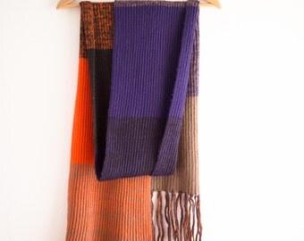Orange / violet / brown scarf